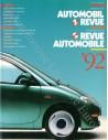 1992 AUTOMOBIL REVUE JAHRESKATALOG DEUTSCH FRANZÖSISCH