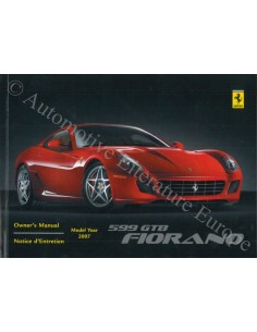 2007 FERRARI 599 GTB FIORANO OWNER'S MANUAL ENGLISH USA / CAN