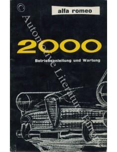 1961 ALFA ROMEO 2000 OWNER'S MANUAL GERMAN