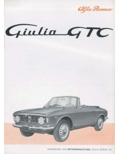 1965 ALFA ROMEO GIULIA GTC OWNER'S MANUAL SUPPLEMENT GERMAN