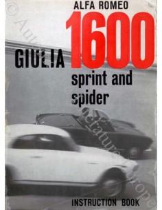 1962 ALFA ROMEO GIULIA 1600 SPRINT & SPIDER BETRIEBSANLEITUNG ENGLISCH