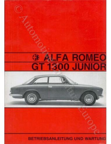 1970 ALFA ROMEO GT JUNIOR 1300 INSTRUCTIEBOEKJE DUITS