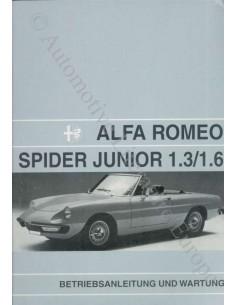 1972 ALFA ROMEO SPIDER 1300 1600 JUNIOR OWNERS MANUAL ENGLISH