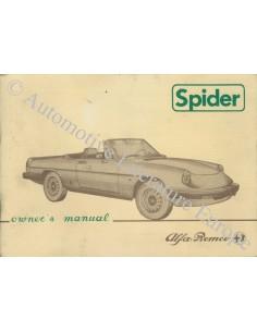 1984 ALFA ROMEO SPIDER OWNERS MANUAL HANDBOOK ENGLISH