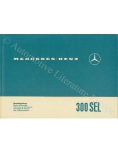 1966 MERCEDES BENZ 300 SEL OWNERS MANUAL