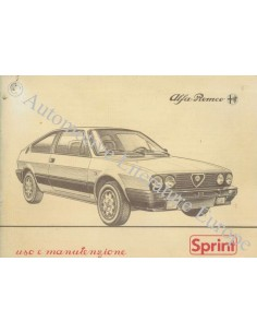 1983 ALFA ROMEO SPRINT INSTRUCTIEBOEKJE ITALIAANS