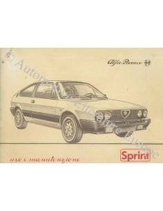 1983 ALFA ROMEO SPRINT OWNER'S MANUAL ITALIAN