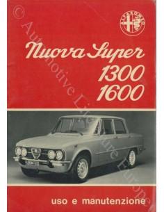 1974 ALFA ROMEO GIULIA NUOVA SUPER 1300 1600 OWNER'S MANUAL ITALIAN