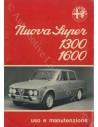 1974 ALFA ROMEO GIULIA NUOVA SUPER 1300 1600 BETRIEBSANLEITUNG ITALIENISCH