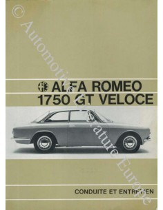 1969 ALFA ROMEO 1750 GT VELOCE OWNER'S MANUAL FRENCH
