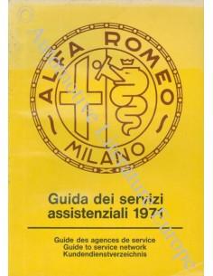 1971 ALFA ROMEO GUIDE TO SERVICE NETWORK