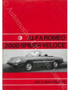 1971 ALFA ROMEO SPIDER 1300 JUNIOR BETRIEBSANLEITUNG ITALIENISCH