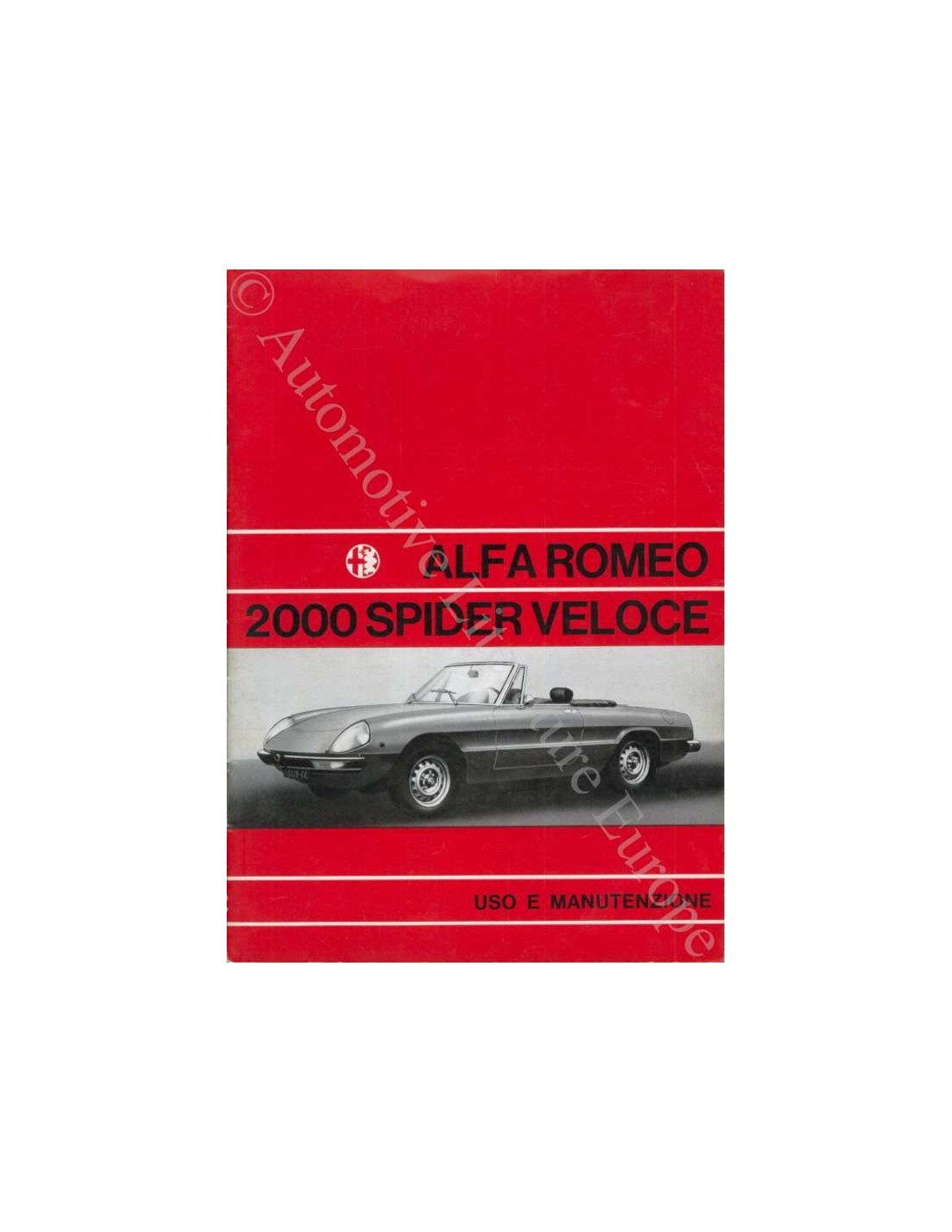 1971 ALFA ROMEO SPIDER 2000 VELOCE OWNERS MANUAL ITALIAN