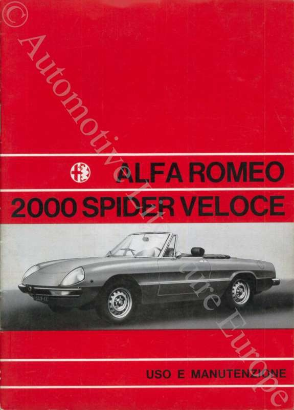 Alfa Romeo Spider Owners Manual User Guide Manual That Easy - Alfa romeo spider workshop manual