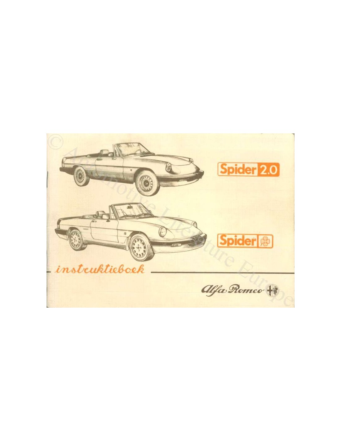 1986 alfa romeo spider owner s manual dutch rh autolit eu Green Alfa Romeo Spider 1986 1986 Alfa Romeo Spider Interior