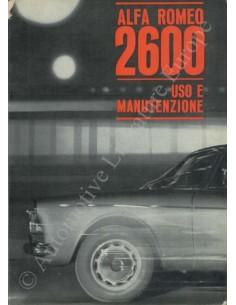 1962 ALFA ROMEO 2600 OWNER'S MANUAL ITALIAN