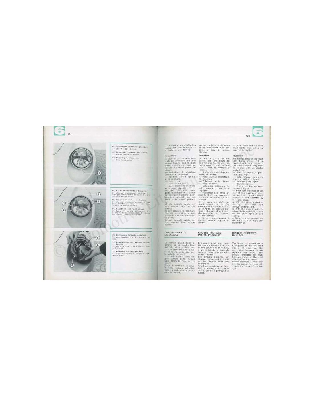 Ferrari Repair Manuals: 1970 FERRARI DINO 246 GT OWNERS MANUAL