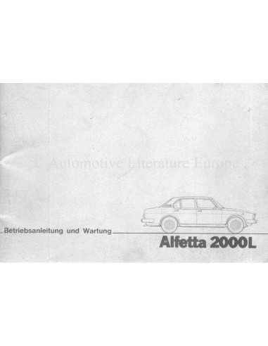 1979 ALFA ROMEO ALFETTA 2000L OWNERS MANUAL GERMAN