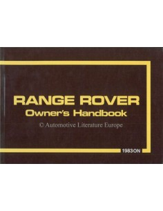 1983 RANGE ROVER CLASSIC OWNERS MANUAL ENGLISH