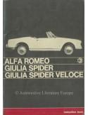 1965 ALFA ROMEO GIULIA SPIDER VELOCE INSTRUCTIEBOEKJE ENGELS