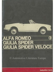 1965 ALFA ROMEO GIULIA SPIDER VELOCE BETRIEBSANLEITUNG ENGLISCH