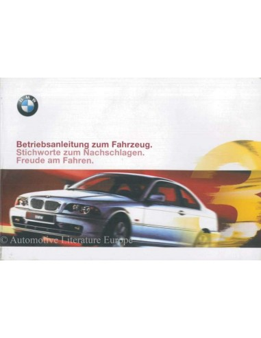 1999 BMW 3 SERIE COUPE INSTRUCTIEBOEKJE DUITS
