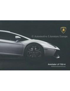 2013 LAMBORGHINI AVENTADOR LP 700-4 INSTRUCTIEBOEKJE DUITS