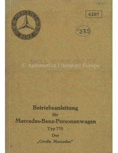 1931 MERCEDES BENZ TYPE 770 OWNERS MANUAL GERMAN