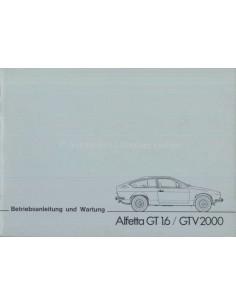 1977 ALFA ROMEO ALFETTA GT 1.6 / GTV 2000 OWNERS MANUAL GERMAN