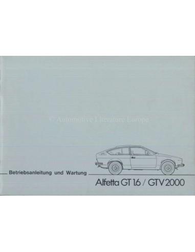 1977 ALFA ROMEO ALFETTA GT 1.6 GTV 2000 OWNERS MANUAL GERMAN