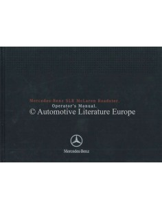 2008 MERCEDES BENZ SLR MCLAREN ROADSTER OWNERS MANUAL ENGLISH US