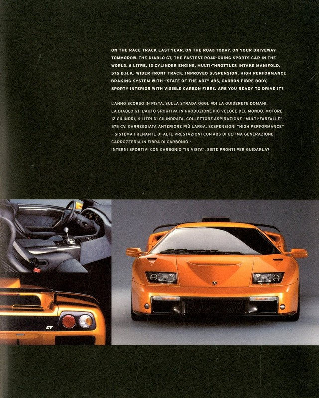1999 Lamborghini Diablo Gt Brochure Italian English
