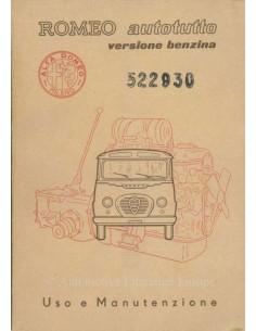 1957 ALFA ROMEO AUTOTUTTO BENZINE INSTRUCTIEBOEKJE ITALIAANS
