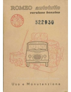 1957 ALFA ROMEO AUTOTUTTO PETROL OWNERS MANUAL ITALIAN