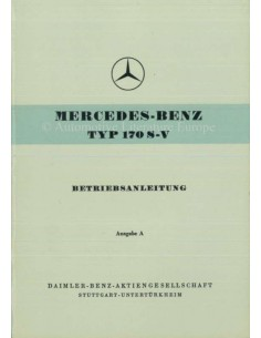 1953 MERCEDES BENZ 170 S-V OWNERS MANUAL GERMAN