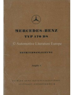 1953 MERCEDES 1952 MERCEDES BENZ 170 DS OWNERS MANUAL GERMAN170 S-V OWNERS MANUAL GERMAN