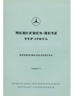 1952 MERCEDES BENZ 170 V B OWNERS MANUAL GERMAN