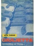 1962 ALFA ROMEO GIULIETTA OWNERS MANUAL GERMAN