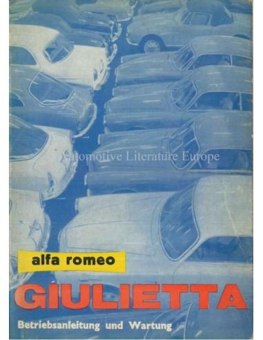 1962 ALFA ROMEO GIULIETTA INSTRUCTIEBOEKJE DUITS