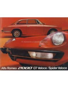 1973 ALFA ROMEO 2000 GT / SPIDER VELOCE BROCHURE DUTCH