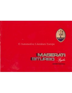 1986 MASERATI BITURBO SPYDER OWNERS MANUAL ENGLISH