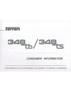 1990 FERRARI 348 TB/TS CONSUMER INFORMATION HANDBUCH ENGLISCH