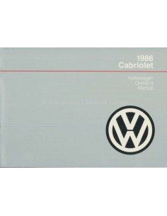 1986 VOLKSWAGEN CABRIOLET OWNERS MANUAL ENGLISH US