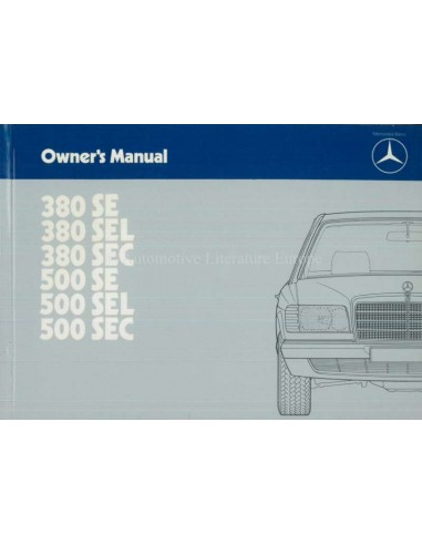 1984 MERCEDES BENZ S CLASS OWNERS MANUAL ENGLISH