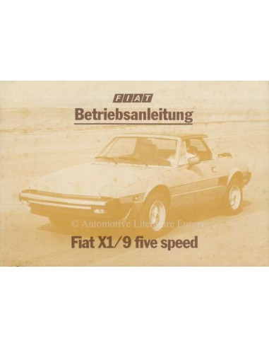 1980 FIAT X1/9 OWNERS MANUAL DUTCH