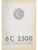 1939 ALFA ROMEO 6C 2500 TURISMO & SPORT OWNERS MANUAL ITALIAN