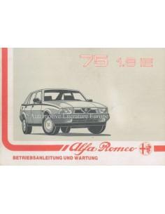 1989 ALFA ROMEO 75 INSTRUCTIEBOEKJE NEDERLANDS