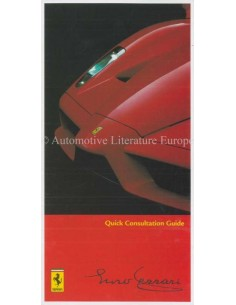 2005 FERRARI ENZO QUICK CONSULTATION GUIDE 2105/05