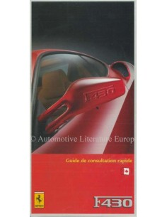 2005 FERRARI F430 QUICK CONSULTATION GUIDE FRENCH