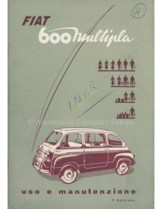 1959 FIAT 600 MULTIPLA OWNERS MANUAL ITALIAN